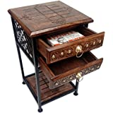 Wai Natural Wrought iron Wooden bedside table / End table / sofa side table with Double drawers storage shelf standard size f