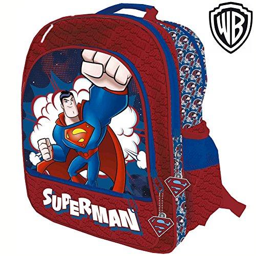 Zaino Superman 4 Cerniere Stampa Plastificata Scuola Bambini Elementari 41 cm