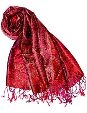 LORENZO CANA Luxus Pashmina Damenschal Schaltuch jacquard gewebt 100% Seide 70 x 190 cm Paisley Muster Seidenschal...