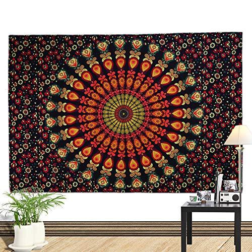 Morbuy Tapisserie Wandbehang, Modales Baumwollmaterial Dekor Wandteppich Tapestry Geometrische Abstraktion Motiv Wandbehang aus Polyster Wandtuch Tischdecke (Klein (130 x 150cm), Blume)