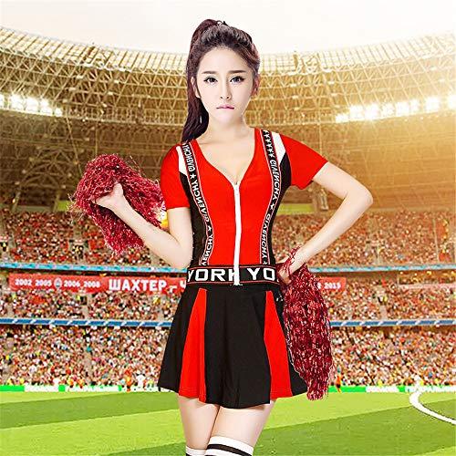 Baby Kostüm Aerobic - ZQ Sommer-Mädchen-Cheerleading-Kleid-Cheerleading-Fußball-Baby-Aerobic-Kostüm-Frauen-Schuluniformen-Erwachsen-Cheerleader-Tanzen,Red,S