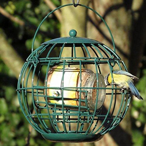 Erdnussbutter für Gartenvögel - Set (4 x 330g) + Erdnussbutterglashalter mit Schutzkäfig (hangend)