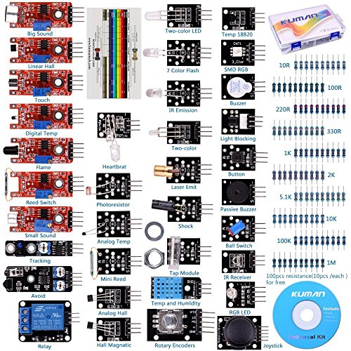 Preisvergleich Produktbild For Arduino Raspberry pi Sensor kit, Kuman 37 in 1 Robot Projects Starter Kits with Tutorials for Arduino Uno RPi 3 2 Model B B+ K5