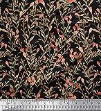Soimoi Schwarz Schweres Canvas Stoff Beeren Blätter Dekor