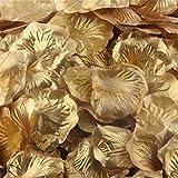 Longra 500PC Stück Rosenblüte Silk künstliche Blumen Blätter Rosen Blumenblatt Hochzeitsfest Dekorationen Valentinstag romatische Überraschung Rosenblätter (Gold)