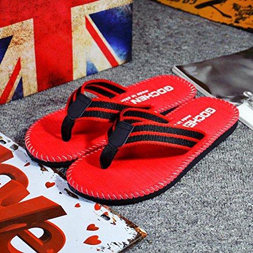 Herren Flip-Flops, SHOBDW Männer Sommer Streifen Flip Flops Schuhe Sandalen Herren Slipper Flip-Flops Rot