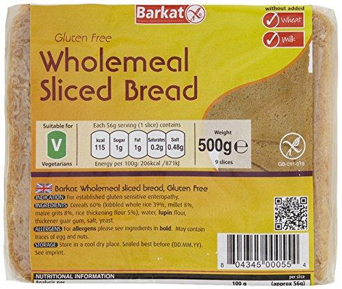 Barkat Gluten-Free Wholemeal Sliced Bread 500 g (Pack of 2)