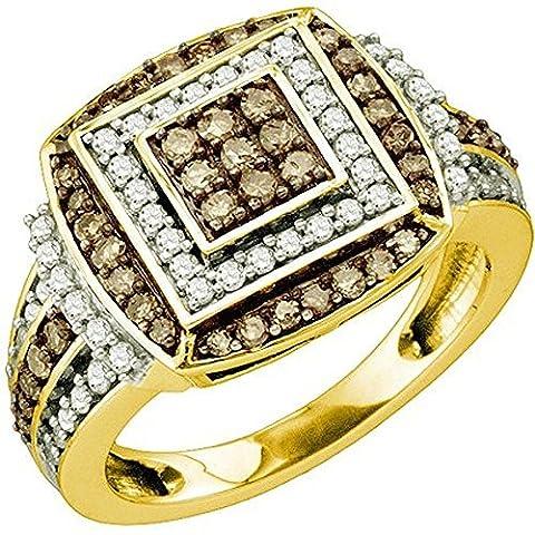 Bague Femme 1.00 ct 10 ct 471/1000 Or Jaune Rond Blanc & Cognac Diamants 1 ct