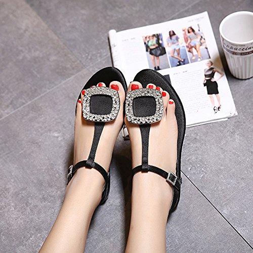 Estate moda donna sandali confortevole,40 argento Black