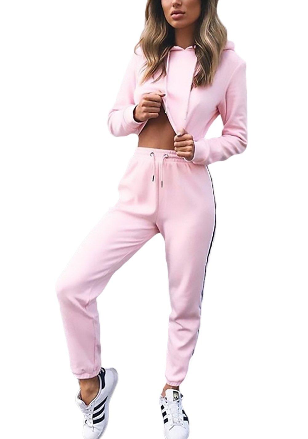 7b9c2eff1f91 Lannister Fashion Donna Tuta da Ginnastica 2 Pezzi Felpa con  Cappuccio+Lungo Pantaloncini Sportiva Crop Top+Pantaloni Eleganti Casuali  Autunno Inverno A ...