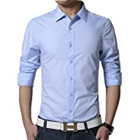 Peppyzone Men's Solid Formal Full Sleeves Polycotton Shirt
