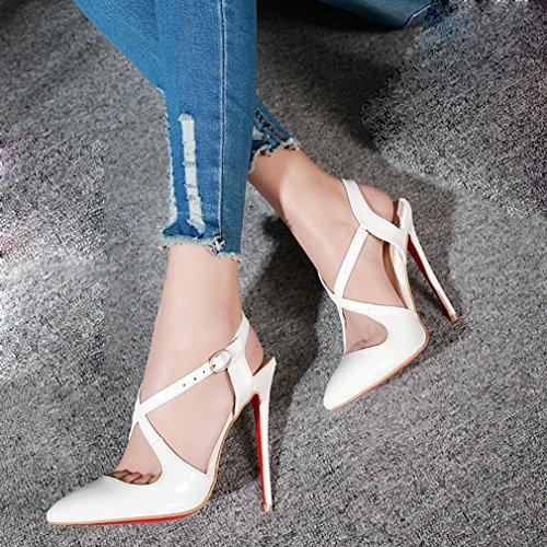 YE Damen Lackleder Spitze Stiletto High Heels Slingback Sandalen mit Riemchen Pumps Schuhe Weiß