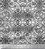 Soimoi Weiß Satin Seide Stoff Blumen & marokkanisch Damast