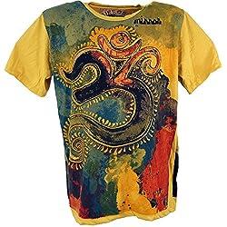 GURU-SHOP, Camiseta Espejo, OM/Amarillo, Algodón, Tamaño:XL, Camisetas Seguras