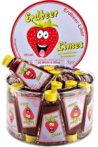 Krugmann Erdbeer Limes Erdbeerlikör mit Fruchtfleisch 20 x 2 cl