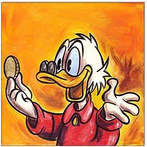 Original Acryl auf Leinwand und Keilrahmen: Dagobert Duck's First Taler/20x20 cm
