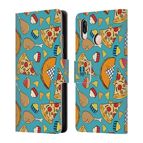 Head Case Designs Pizza Und Taco Fast Food Muster Brieftasche Handyhülle aus Leder für Huawei P20 Lite Food Network-pizza