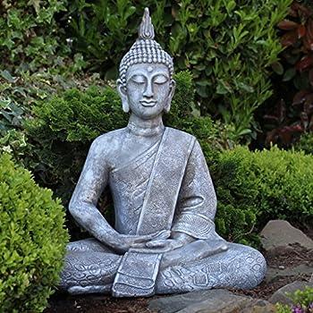 statue de bouddha grande 65 cm assis figurine sculpture pour le salon xl cuisine. Black Bedroom Furniture Sets. Home Design Ideas