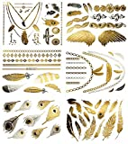 Terra Tattoos Metallic Tattoos - Over 75 Boho Feather Temporary Tattoos in Gold and Silver (6 Sheets), Destiny Collection