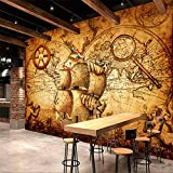 Yirenfeng Adesivi Murali Carta Da Parati Autoadesivi Retro Nautico Mondo Mappa Tema Murale Sfondo Muro Video Rivestimento-200X140CM