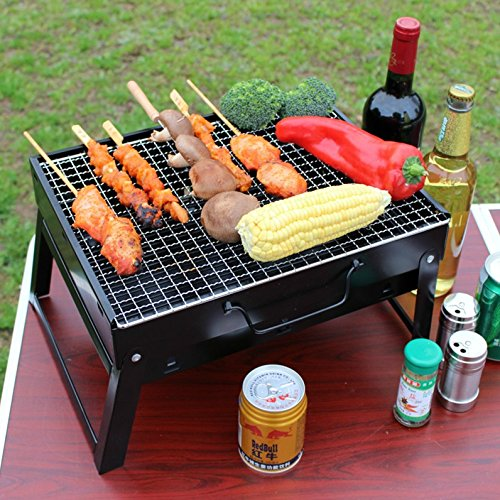 61LsIa1CdtL - Sunjas Campinggrill, Faltbare BBQ Holzkohlegrill, Outdoor Reisegrill, Tischgrill, Mini Grill für Picknick Party Barbecue (Holzkohlegrill mit Elektro Ventilator)