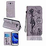 pinlu Schutzhülle Für Samsung Galaxy J5 (2016 Version, 5.2 zoll) J510 Handyhülle PU Ledertasche Brieftasche Mit Stand Function Innenschlitzen Design Kristall Punktbohrer Mädchen Muster Grau