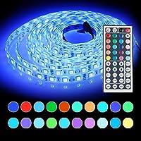 InnooLight 5m LED Strip, 300LEDs IP65 wasserfest warmweiss bunt selbstklebend, SMD 5050 LED Streifen inkl. 44-Tasten Fernbedienung mit Farbauswahl (bunt)