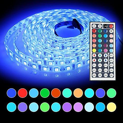 InnooLight 5m 300LEDs IP65 wasserfest kaltweiss bunt selbstklebend SMD 5050 LED Streifen inkl. 44-Tasten Fernbedienung mit Farbauswahl als LED Band LED Leiste LED Lichtleiste LED Lichtschlauch LED Stripes (Led Outdoor Streifen-lichter)