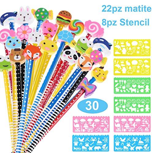 Goldge 22pz Set matita in legno con gomma, Matita grafite del Fumetto,8pz Set di Stencil Stampini da Disegno in Plastica,per bambini Regali per i premi delle scuole di compleanno(30 Pz)