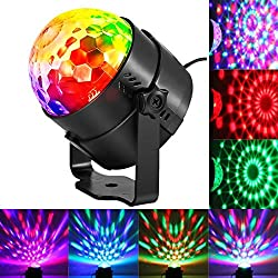 KINGSO Mini LED Lichteffekte Disco Licht Party Licht Bühnenbeleuchtung 3W RGB Sprachaktiviertes Kristall Magic Ball Bühnenlicht für Show Disco Ballsaal KTV Stab Stadium Club Party [Energieklasse A]