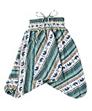 Lofbaz Kinder Mädchen Kinderhose Hose Haremshose und Overall Aladinhose Baby Sommer Jumpsuit - Elephant 16 Teal grün - 8-9Y