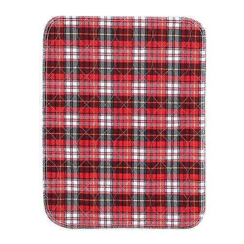 Saugfähigkeit Pads (Washable Reusable Incontinence Pad Protector für Bettnässen, Saugfähigkeit Under pad, 3 Schicht, Erwachsene und Kinder (Rot kariert, 45 * 60 cm))