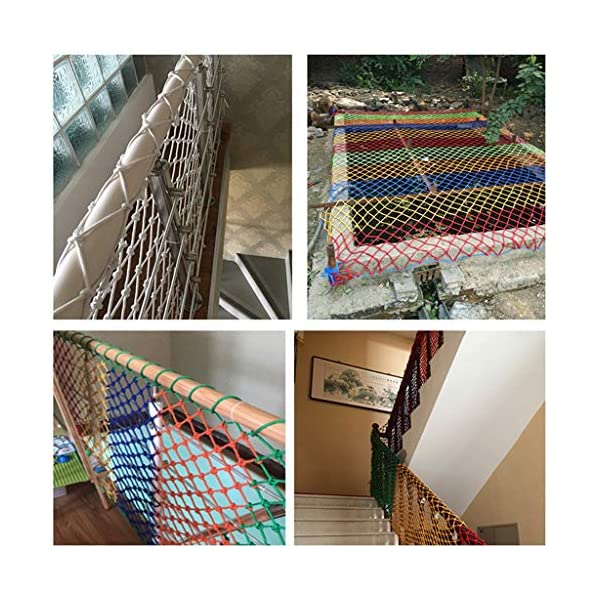 HUANPIN Child Safety Net Family Balcony Railing Stairs Anti-Falling Baby Fence Net Children Playground Guardrail Kids Safety Netting Dia 10mm8cm,4×5m HUANPIN ★Handmade: High quality safety net , Hand braided Traditional structure ★Mesh Size*Rope Diameter: 8cm*10mm Length*width: please perchase as your needs. We have any other size ( rope diameter, mesh, length * width) rope net, support customization. If you have any needs, please contact us. ★ Multi-function protection net: balcony family and railing stairs balcony security loft bed protection stair railing cat climbing ladder, anti-fall and other strengthening protection; wall, house, hotel theme party, board, cafe, bookstore, restaurant, decoration, hanging and so on. 15