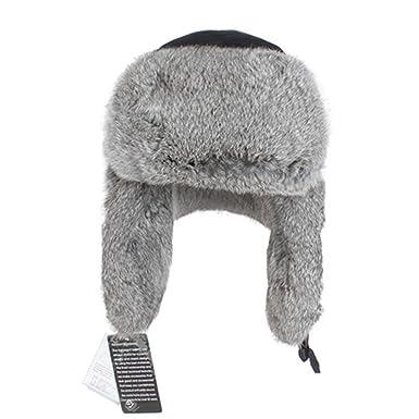0fcc1463d00 Kenmont Men s Russian Rabbit Fur Trooper Hat Ear Flaps Winter Hat 23.2inch  Black  Amazon.co.uk  Clothing