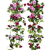 L&Z künstliche Rosengirlande, Hängedeko, mit Blättern, für Hochzeiten, 2er Pack Magenta