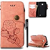 Hülle Nokia Lumia 630 N630 Retro Blume Frauen,BtDuck Slim Tasche Vintage Brieftasche Handyhülle Ledertasche Flip Cover SchutzHülle Nokia Lumia 630 N630 CoverSilikon Back Brieftasche Licht Orange