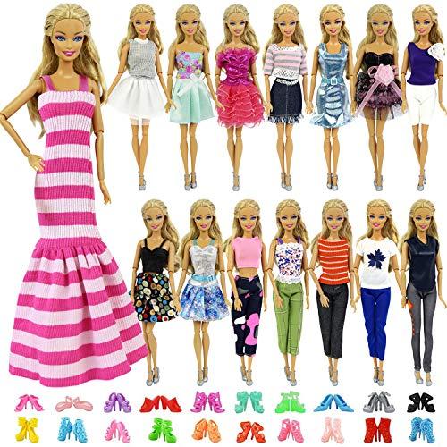 ZITA ELEMENT 10 Stück Kleider Kleidung Puppensachen Mode Urlaubstag Kleider für Barbie Puppen Handgefertigte Puppenkleidung Puppen Outfits Zubehör Kostüm 5 Kleidung mit 5 Paar - Barbie Und Ken Kostüm Kinder