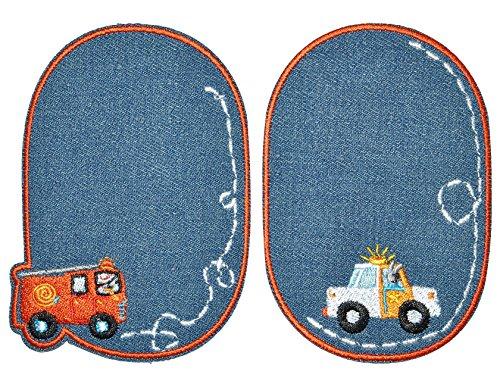 2 tlg. Set ovaler - Bügelbild / Flicken - Auto Fahrzeuge - Jeans blau - 8 cm * 11,5 cm - oval - Bügelbilder - Aufnäher zum Aufnähen und Bügeln / Applikation für Kinder Jungen Autos Feuerwehr Polizei