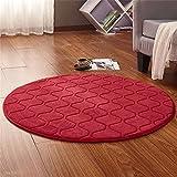 Teppiche, CAMAL Runde Waschbare Koralle Samt Dekorative Teppich Wohnzimmer Schlafzimmer und Bad (120cm, Rot)