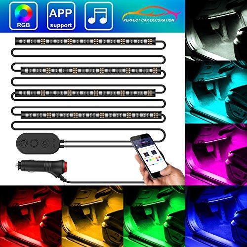 Auto LED Innenbeleuchtung, Minger 4*30cm 72 LED RGB Auto Innenraumbeleuchtung mit APP, wasserdicht mehrfarbig Musik Auto Streifen Kit mit Zigarettenanzünder & Mikrofon für iPhone Android Smartphone