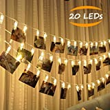 JESWELL Guirlande Lumineuse Photo 20 Led - 2.2 Mètre Batteries Alimenté Led Chaîne Light Photo Pour Décor Mariage Mural Chambre, Afficher Photo, Pictures, Artwork, Décor La Noël, Anniversaire, Saint Valentin (Blanc Chaud)...
