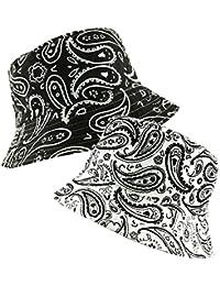 c15817b4fa8 Unisex Bucket Bush Hat Reversible 2 in 1 Bandana Paisley Pattern Print  Boonie Sun