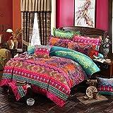 Lanqinglv Bohemian Bettwäsche 135x200 cm 2 Teilig Boho Indischen Mandala Böhmisch Bettwäsche Set Renforce mit Reißverschluss Vintage Bettbezug und 1 Kissenbezug...