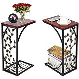 Yaheetech Lot de 2 Table d'appoint Bout de Canapé Motif de Feuille Table Basse à Café Design Table de Nuit Cadre Métallique