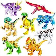JZK 8pcs conjunto bloques dinosaurio de juguete, boca cabeza los pies de las manos son móviles, edificio figuras minifiguras para niños (color brillante)