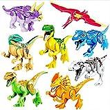 JZK 8 x Klein Bunt Spielzeug Jurassic Welt Dinosaurier Blöcke Set, Kopf Mund Hände Füße Sind beweglich, Mini Dino Figuren Geschenk Dekoration für Kinder Geburtstag Party (Hell)