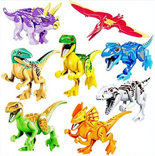 JZK 8 x Klein bunt Spielzeug Jurassic Welt Dinosaurier Blöcke Set, Kopf Mund Hände Füße sind beweglich, Mini Dino Figuren Geschenk Dekoration für Kinder Geburtstag Party - Dinosaurier-spielzeug Für Kinder