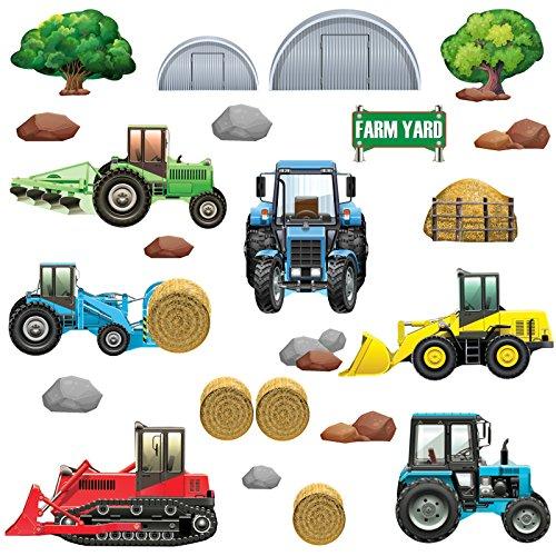GET STICKING DÉCOR® Bauernhof Traktor & Digger Wandtattoo, Wandsticker Kollektion, TracHeavyFarm Trac.6, Glänzend Herausnehmbar Vinyl, Multi Farbe. (Zubehör Kuh Kit)
