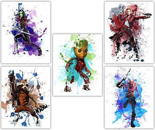 Tangible Prints Guardians of The Galaxy-Avengers Baby Groot, Gamora, Star Lord, Drax Spielfigur mit und Rocket in Diesem Film Poster Wall Art Serie-Set von 58x 10Fotos - 8 X 10 Art