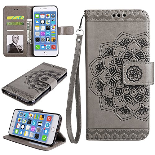 iphone 7 Plus Hülle, iphone 8 Plus Hülle Leder Case,Cozy Hut Premium Handy Schutzhülle für iphone 7 Plus/ 8 Plus Hülle Leder Wallet Tasche Flip Brieftasche Etui Schale , PU Schutz Etui Schale Grau Mandala Blume Muster Design Backcover Flip Cover Wallet Hardcase im Bookstyle mit Standfunktion Karteneinschub und Magnetverschluß Etui Flip Case für iphone 7/ 8 Plus 5.5 Zoll - Graue Mandala Blume